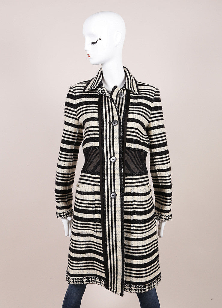 DKNY Black and White Wool Woven Striped Long Button Down Jacket Frontview