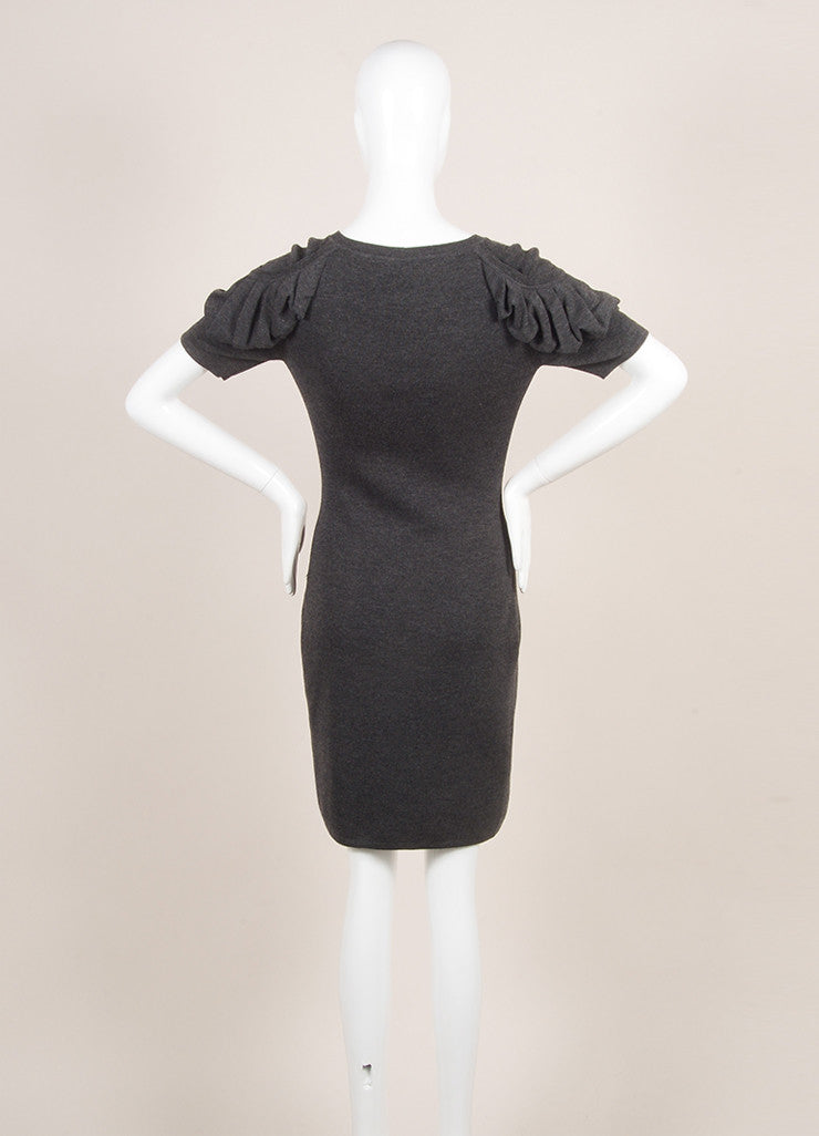 Fendi Charcoal Grey Wool Ruched Short Sleeve Fitted Dress Backview