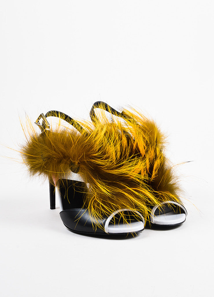 "Black Leather and Fox Fur Fendi ""Bugs Fur Monster"" Cutout Sandals Frontview"