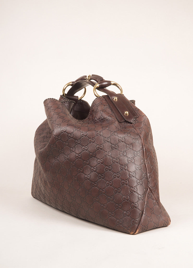 "Gucci Chocolate Brown Leather Large Horsebit ""Guccissima"" Hobo Bag Sideview"