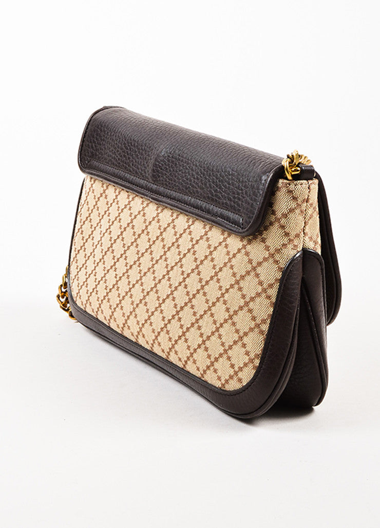 "Gucci Brown and Tan Leather ""Diamante"" Canvas ""1973"" Collection Handbag Purse Sideview"
