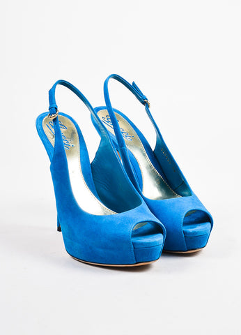 Gucci Bright Blue Suede Peep Toe Platform Slingback Pumps Frontview