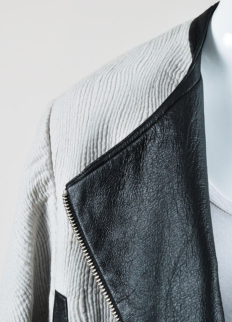 Grey and Black Helmut Lang Wool Blend Jacquard Leather Zip Jacket Detail