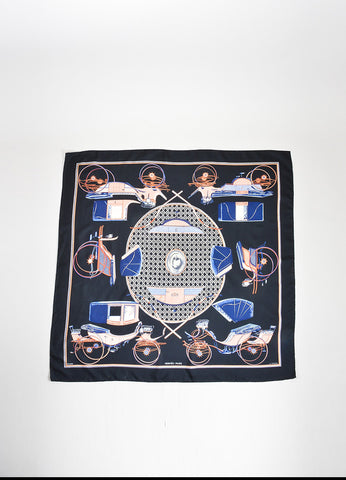 "Black and Multicolor Hermes Silk Printed ""Les Voitures a Transformation"" 90cm Scarf Frontview 2"