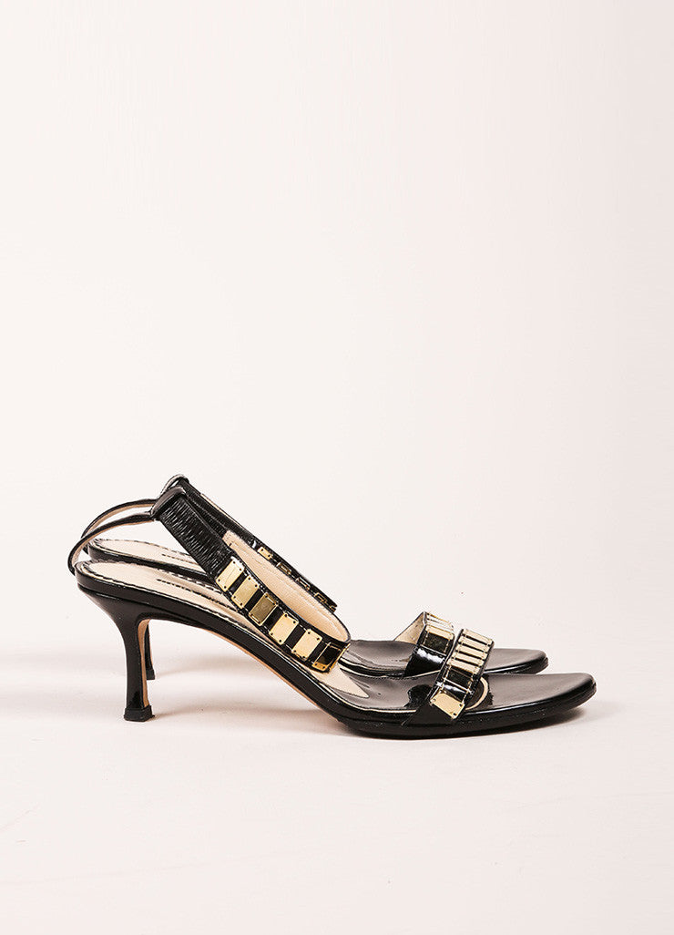 Jimmy Choo Black Patent Leather Gold Toned Embellished Ankle Strap Heels Sideview