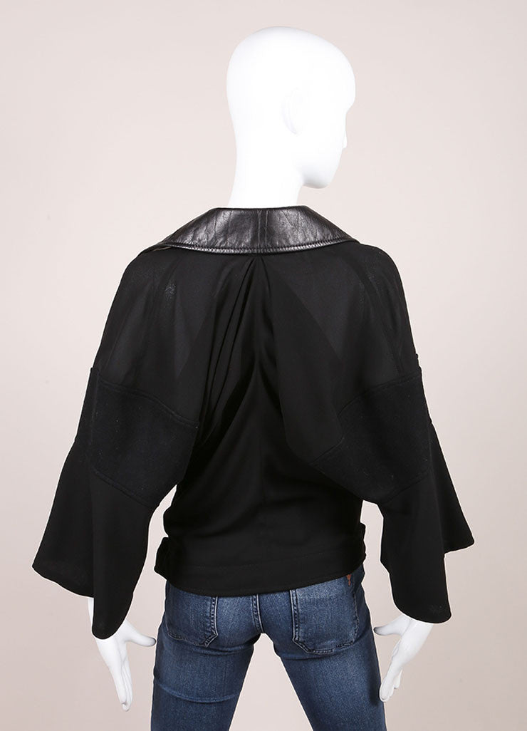 Junya Watanabe Black Knit Leather Collar Belted Moto Crop Sleeve Jacket Backview
