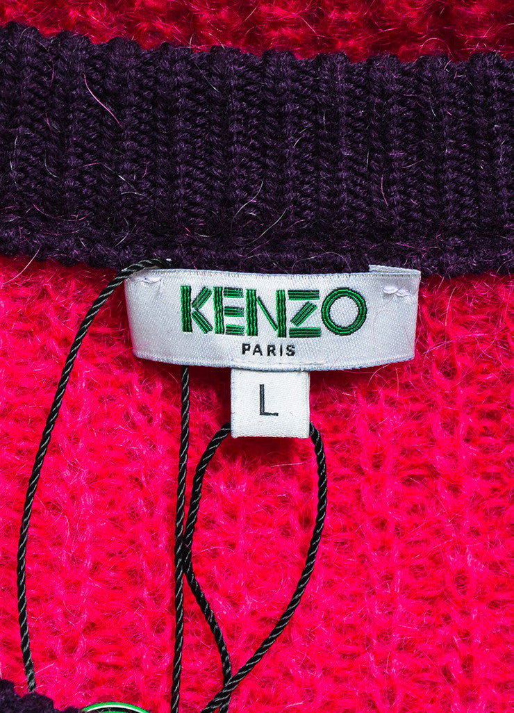 Grey, Purple, and Fuchsia Kenzo Mohair Blend Knit Pullover Sweater