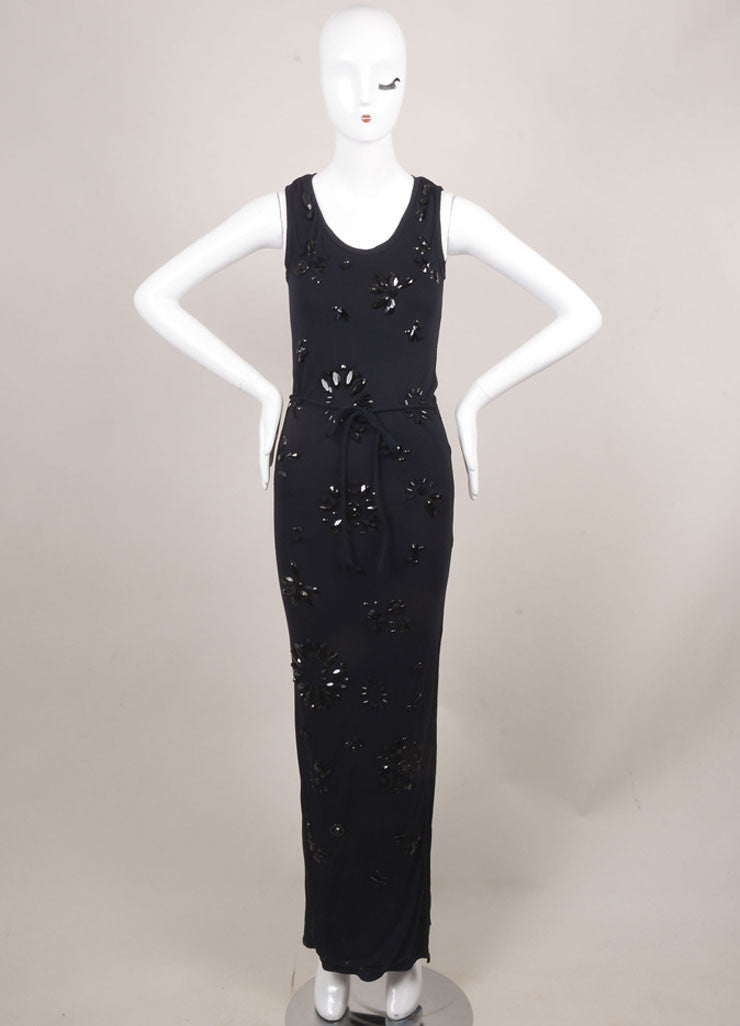 Lanvin New With Tags Navy Jersey Beaded Sleeveless Maxi Dress Frontview