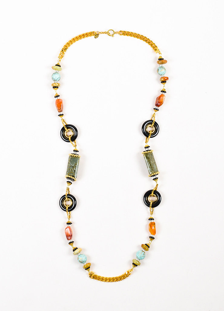 Lawrence VRBA Gold Toned Black Multicolor Stone Beaded Chain Necklace Frontview