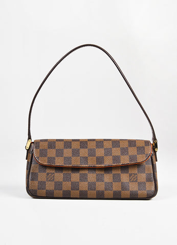 "Louis Vuitton Brown Tan Coated Canvas 'Damier Ebene"" Flap ""Recoleta"" Bag front"