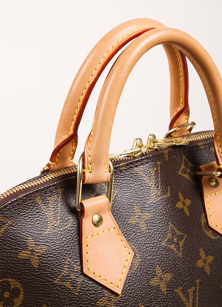 "Louis Vuitton Brown and Tan Coated Canvas Leather Monogram Logo ""Alma"" Handbag Detail 2"
