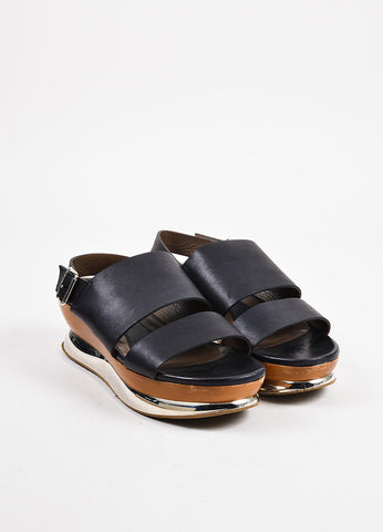 Marni Black, Brown, and Silver Toned Leather and Wood Mirrored Platform Sandals Frontview