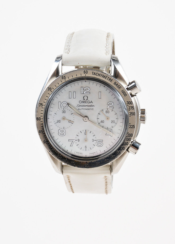 Omega Stainless Steel and Mother of Pearl Automatic Speedmaster Leather Watch Frontview