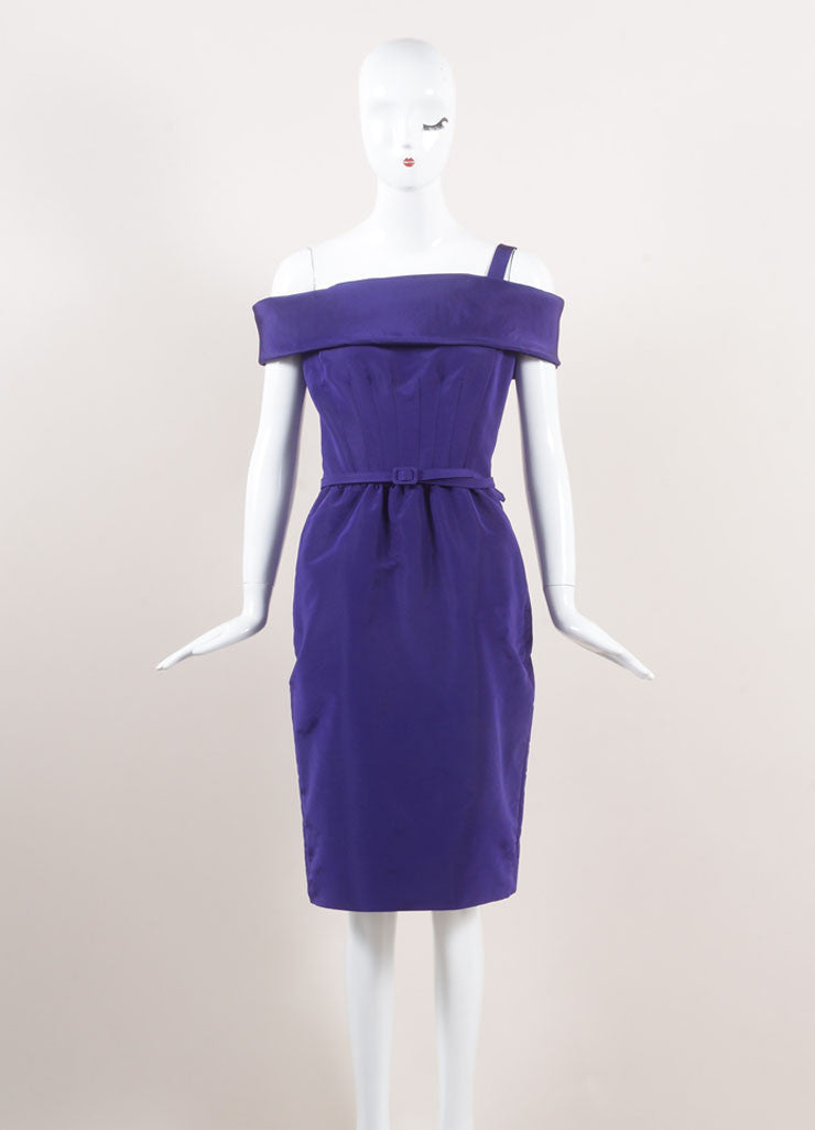 Oscar de la Renta New With Tags Purple Off Shoulder Silk Faille Sheath Dress Frontview