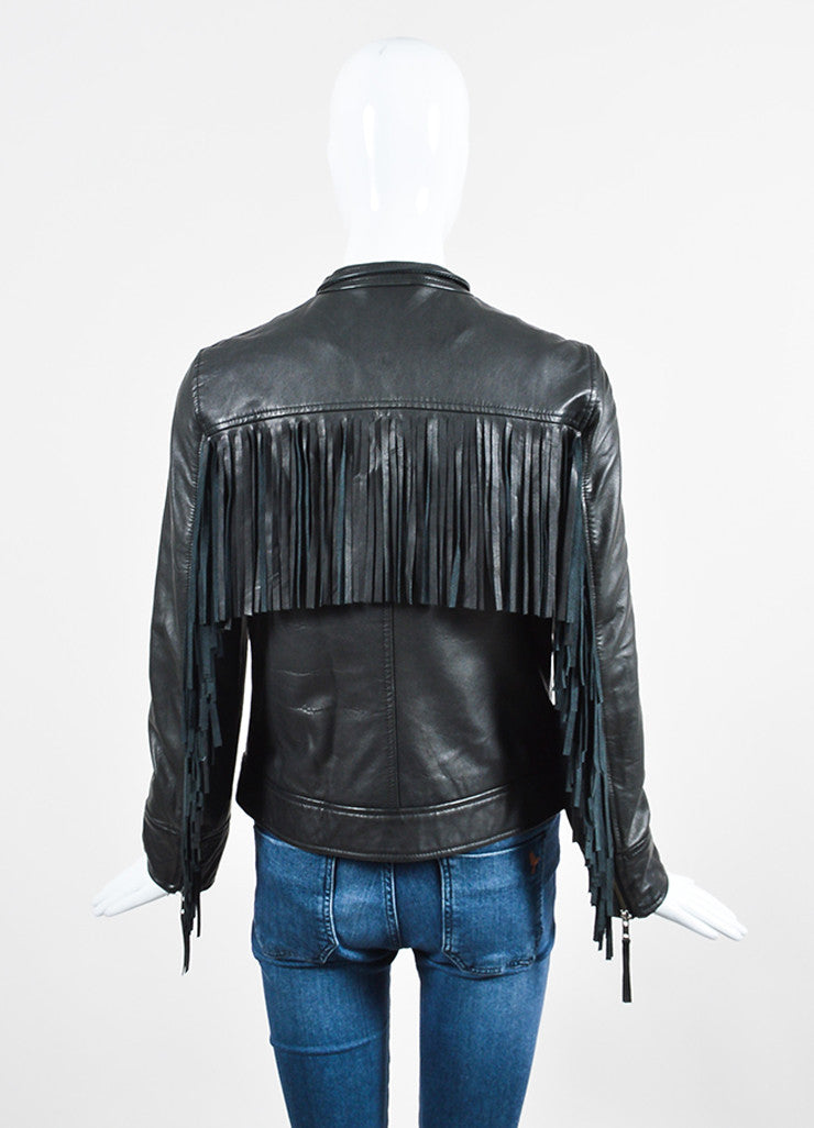 Pam & Gela Black Leather Fringe Jacket Backview