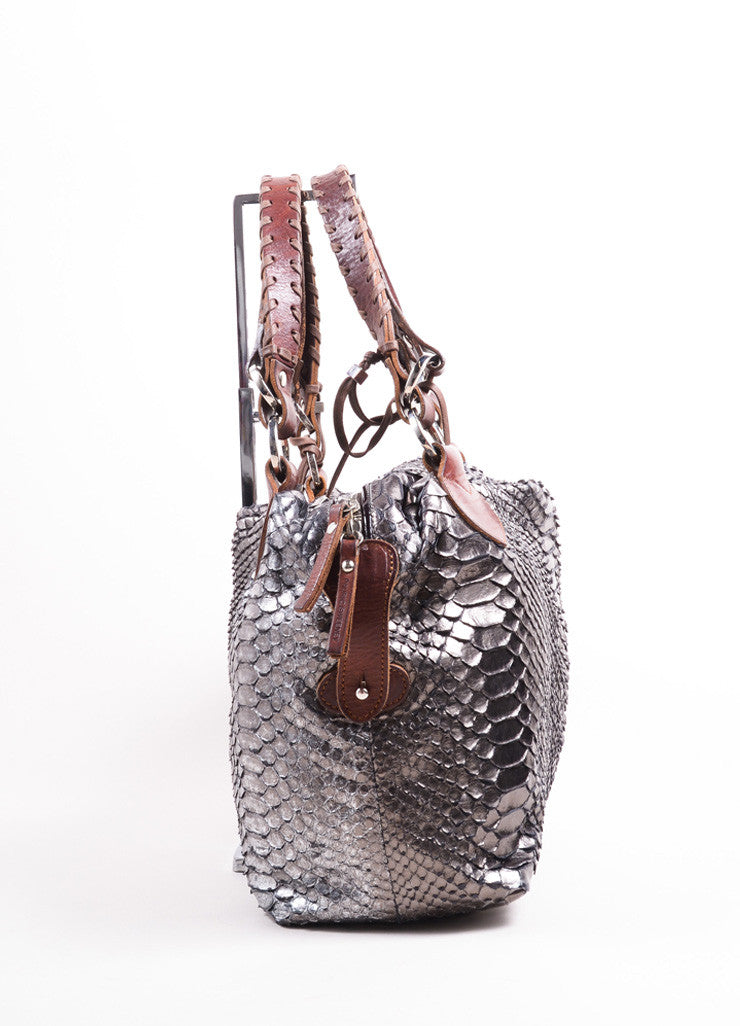 "Pauric Sweeney Metallic Silver and Brown Python Leather ""Overnight"" Satchel Handbag Sideview"