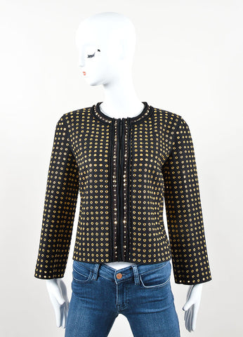 Prada Black and Gold Toned Wool Blend Grommet Studded Jacket Frontview