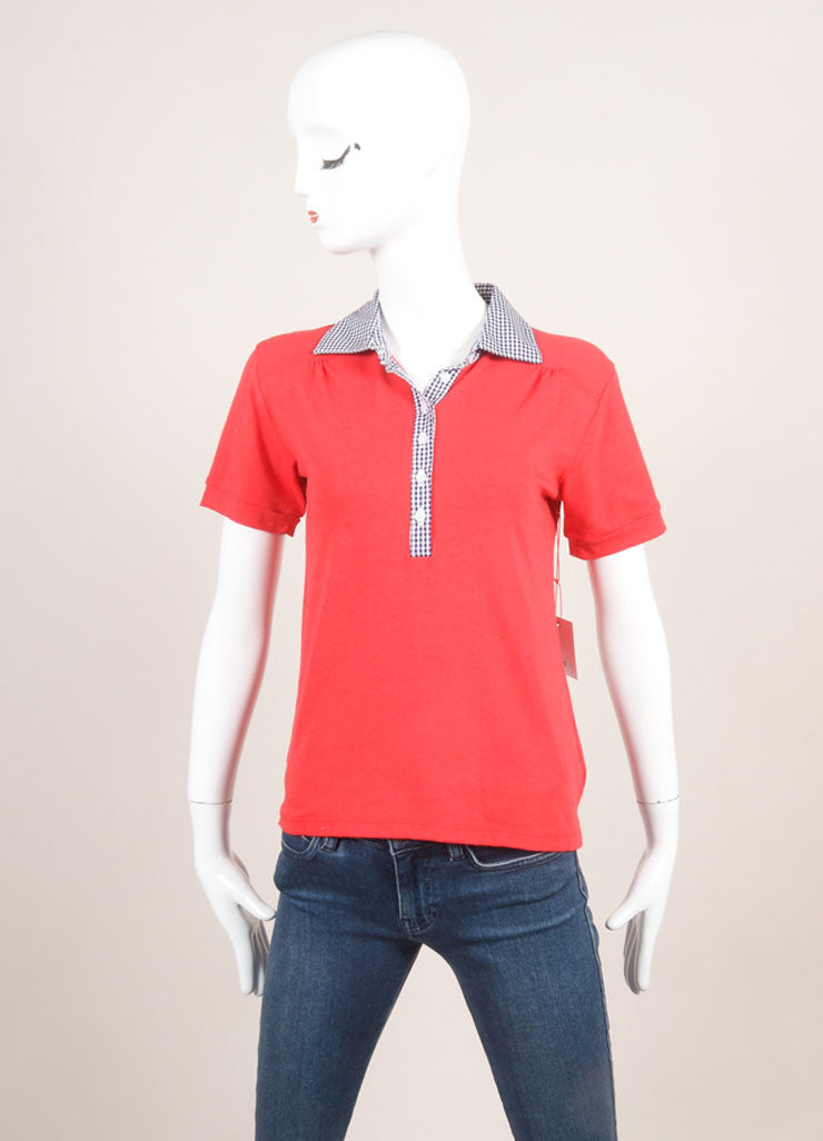 New With Tags Red, White, and Navy Gingham Collar Short Sleeve Polo Shirt