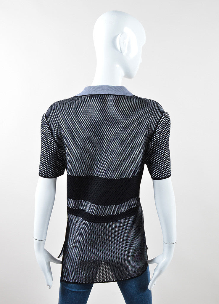 Proenza Schouler Black and White Pique Asymmetrical Short Sleeve Polo Top Backview