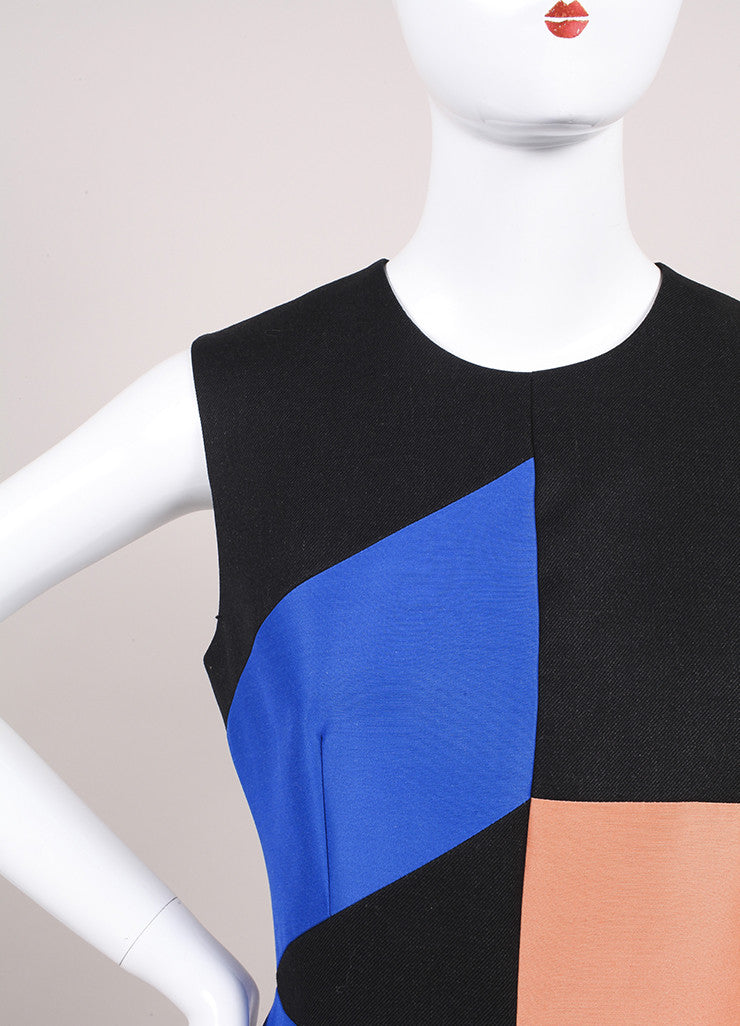 Roksanda Ilincic New Charcoal Grey, Blue, and Orange Midi Villare Dress Detail