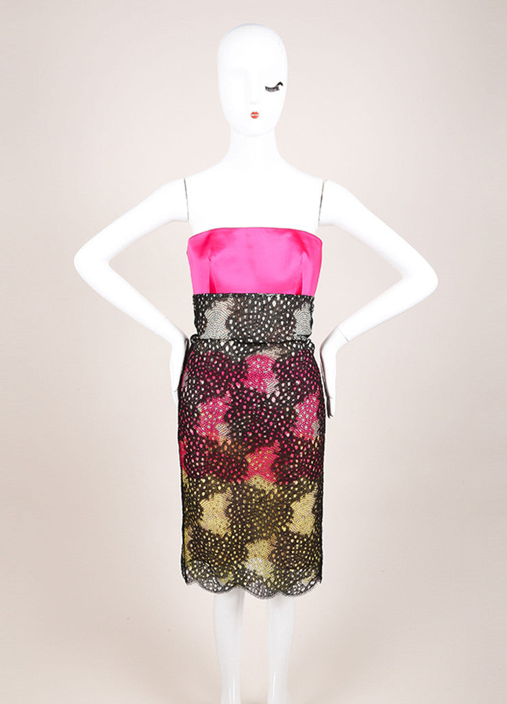 "Roland Mouret New With Tags Black and Pink Satin Strapless ""Poinsettia"" Dress Frontview"