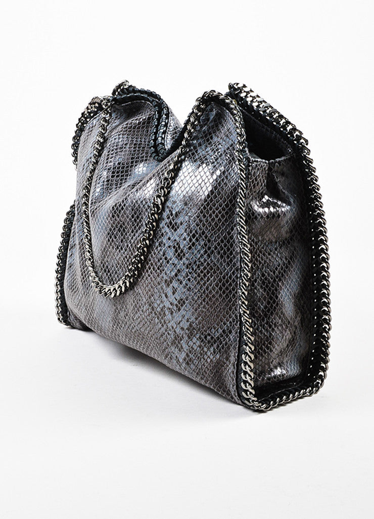 "Stella McCartney Black and Grey Python Embossed Faux Leather Small ""Falabella"" Bag Sideview"