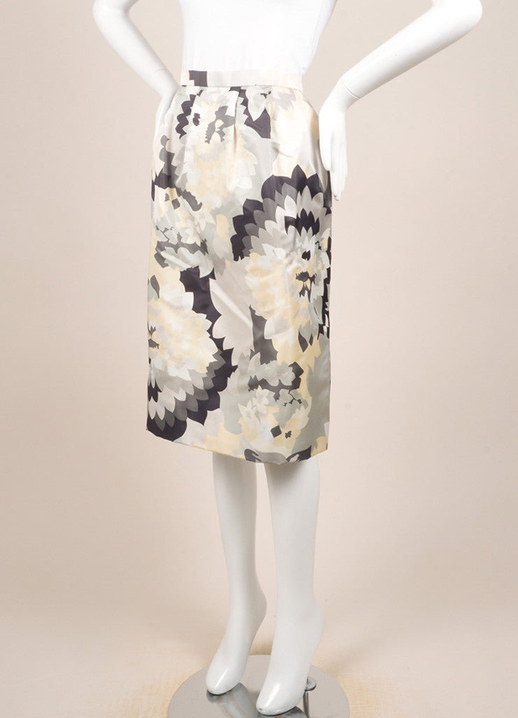 Bill Blass Grey, Cream, and White Floral Print Pencil Skirt Sideview