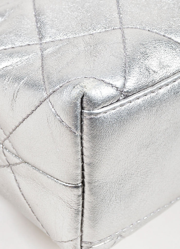 Metallic Silver Chanel Leather Quilted Crossbody Chain Frame Evening Bag Detail