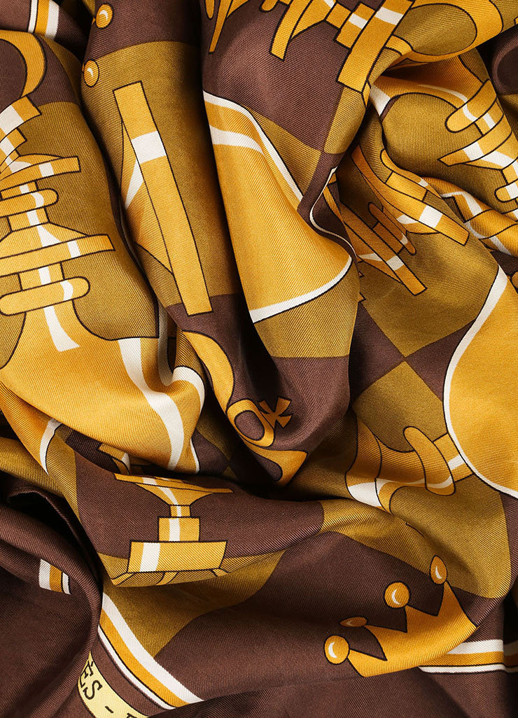 Hermes Brown and Gold Chess Piece and Board Print Silk Scarf Detail