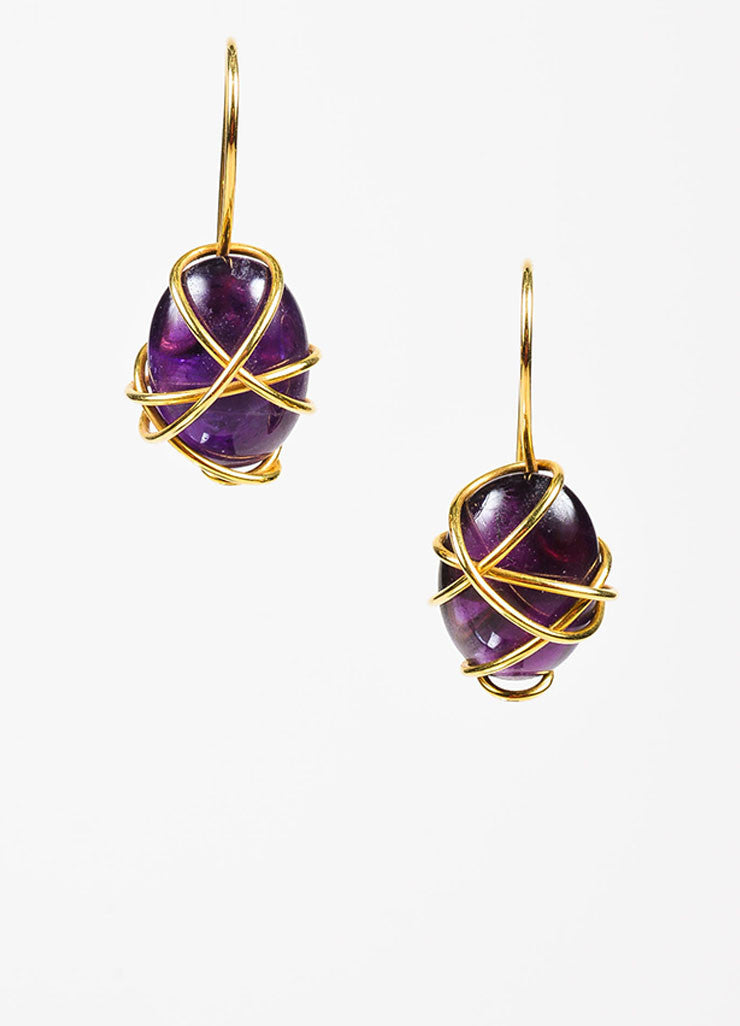 Tina Chow 18K Yellow Gold and Amethyst Wrapped Drop Hook Earrings Frontview
