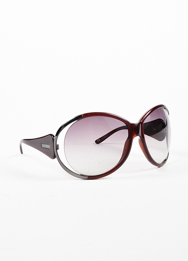 Valentino Dark Red & Grey Round Cut Out Oversized '5625 S' Sunglasses Front