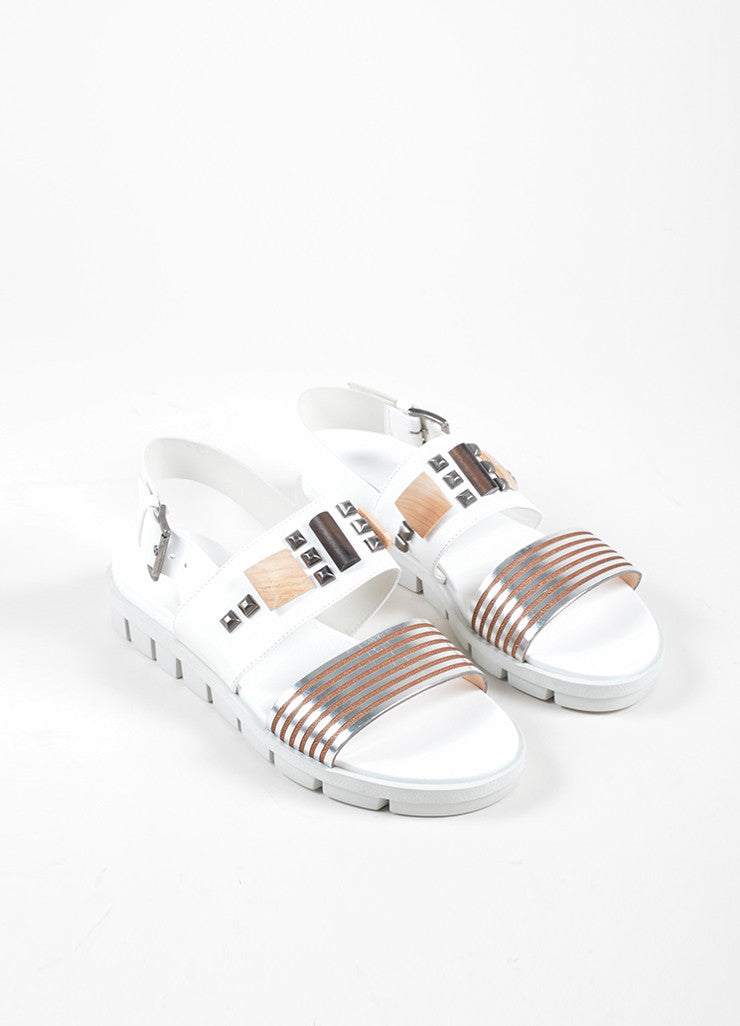 Vic  White and Silver Leather Studded Slingback Flat Footbed Sandals Frontview