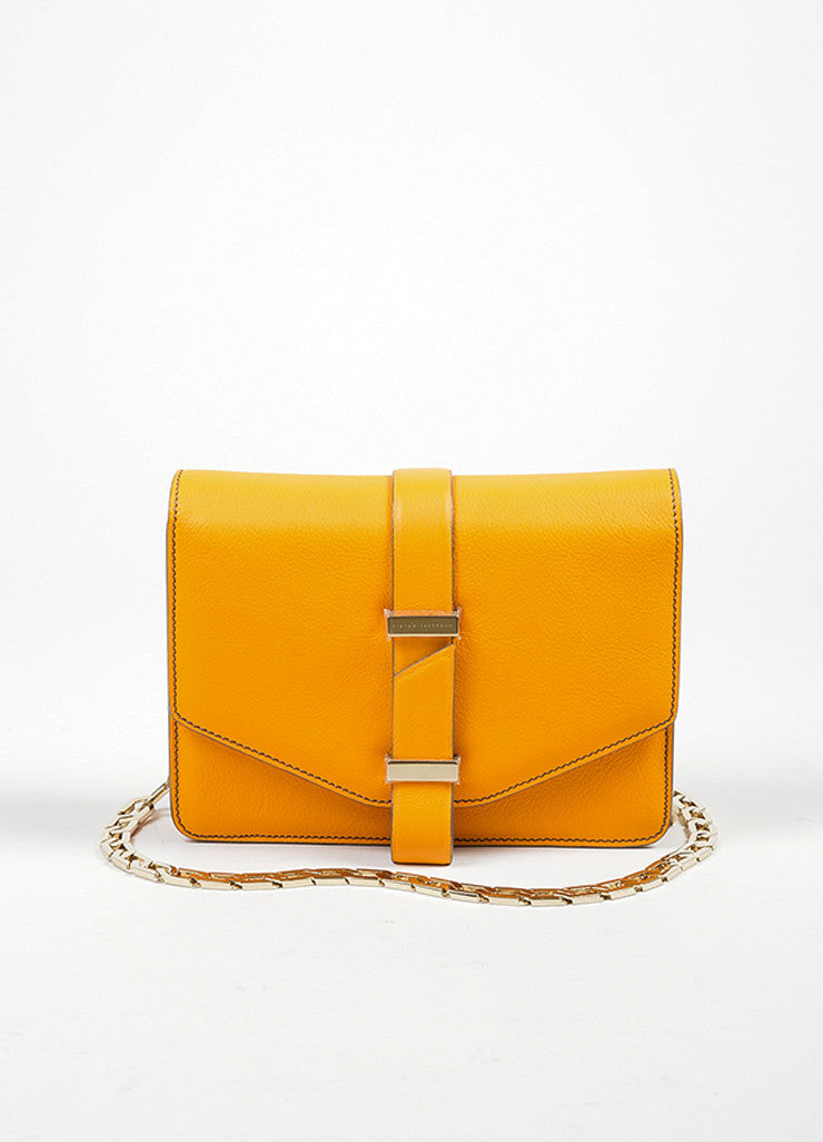 Orange Victoria Beckham Leather Mini Chain Satchel Bag Frontview