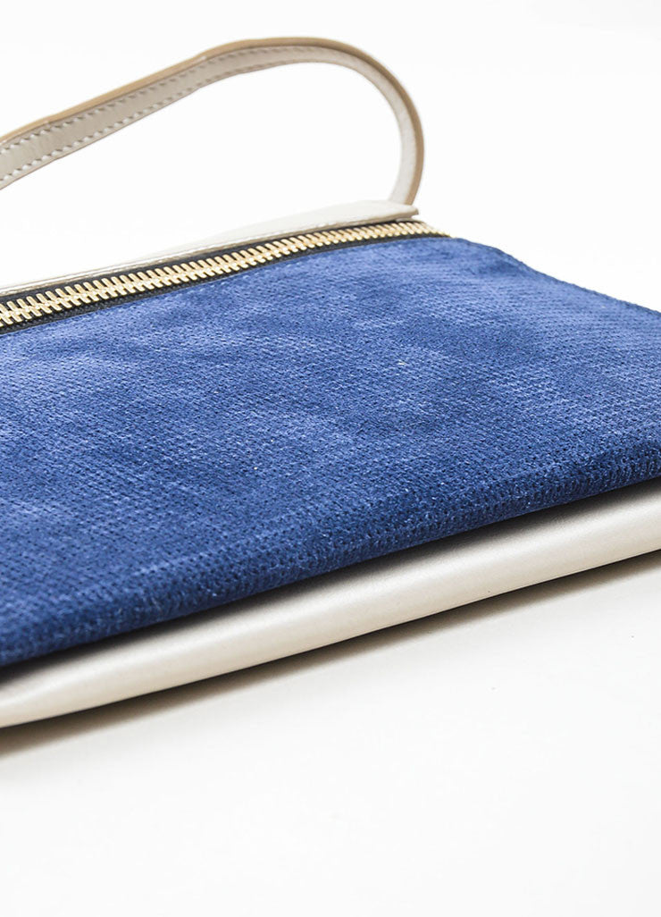 Grey and Blue Victoria Beckham Leather Suede Detachable Strap Zip Clutch Bottom View