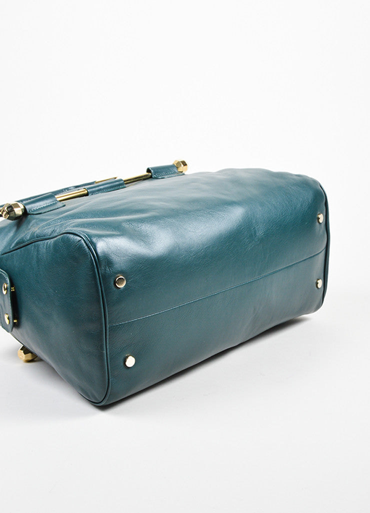 "Hunter Green Viktor & Rolf Leather Top Handle ""Bombette"" Satchel Bag Bottom View"