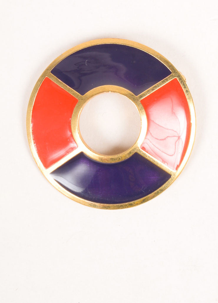 Yves Saint Laurent Gold Toned, Navy, and Red Enamel Color Block Circle Brooch Pin Frontview