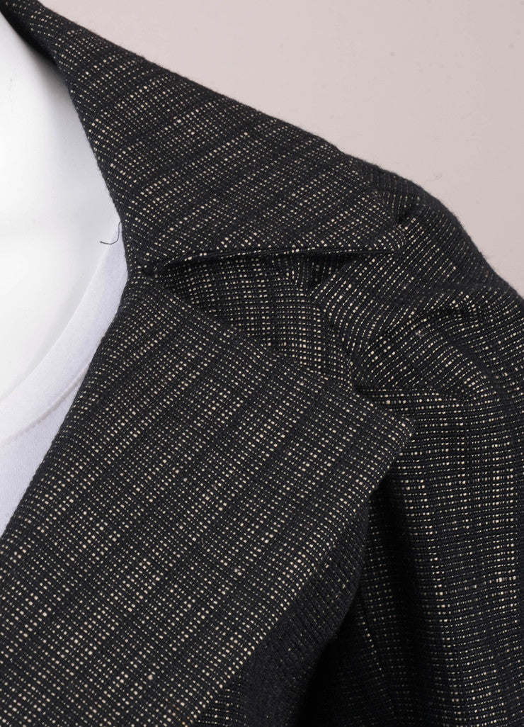 Black Dries Van Noten Wool and Linen Woven Jacket