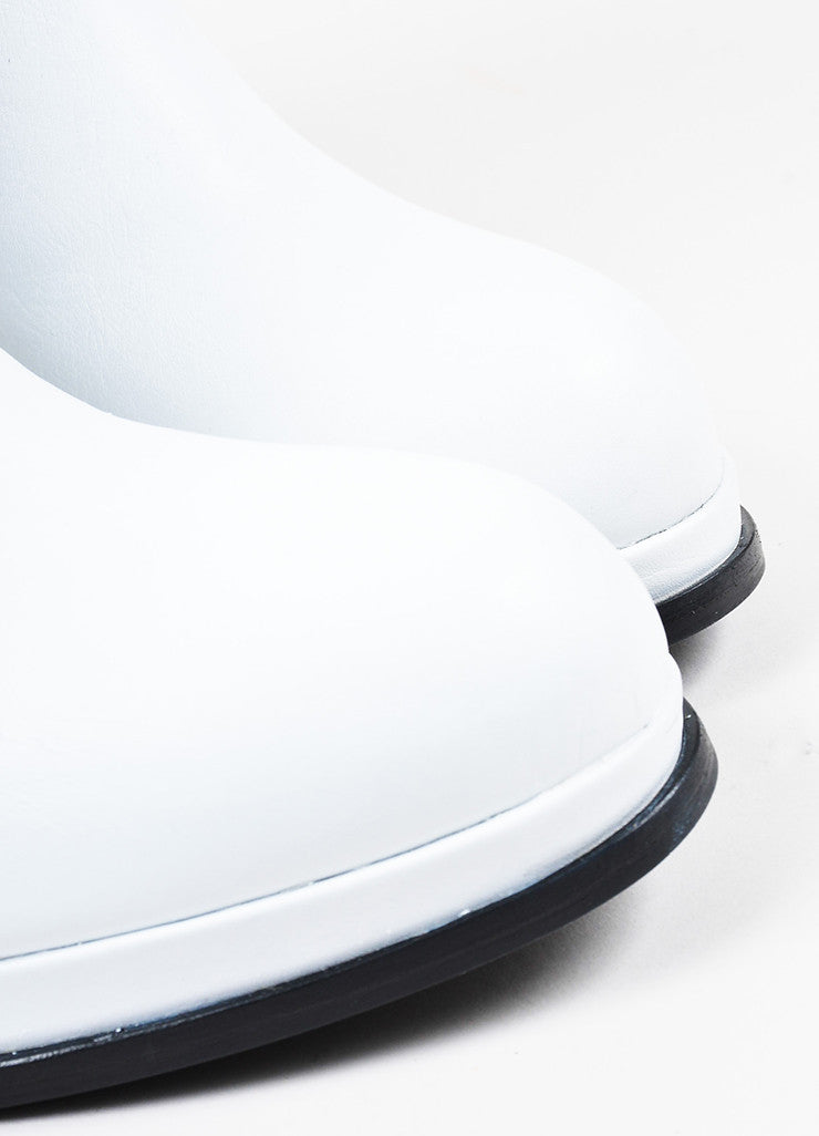 Acne Studios White Leather Black Elastic High Heel Platform Chelsea Boots Detail