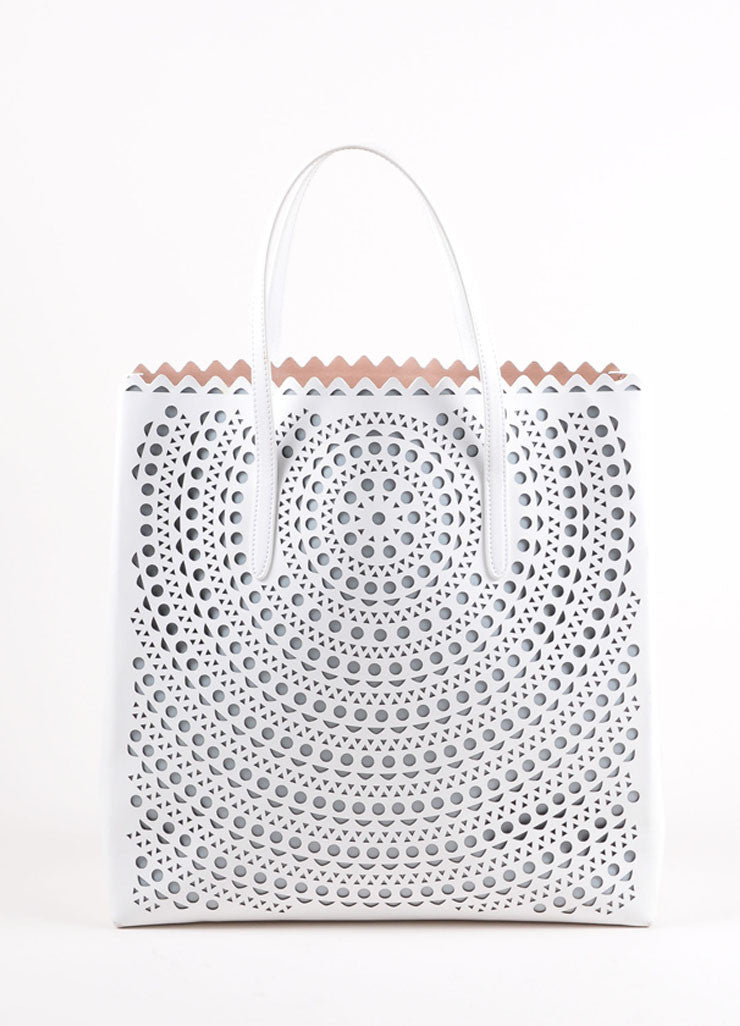 "Alaia White Laser Cut Perforated Leather ""New Vienne"" Shopper Tote Bag Frontview"