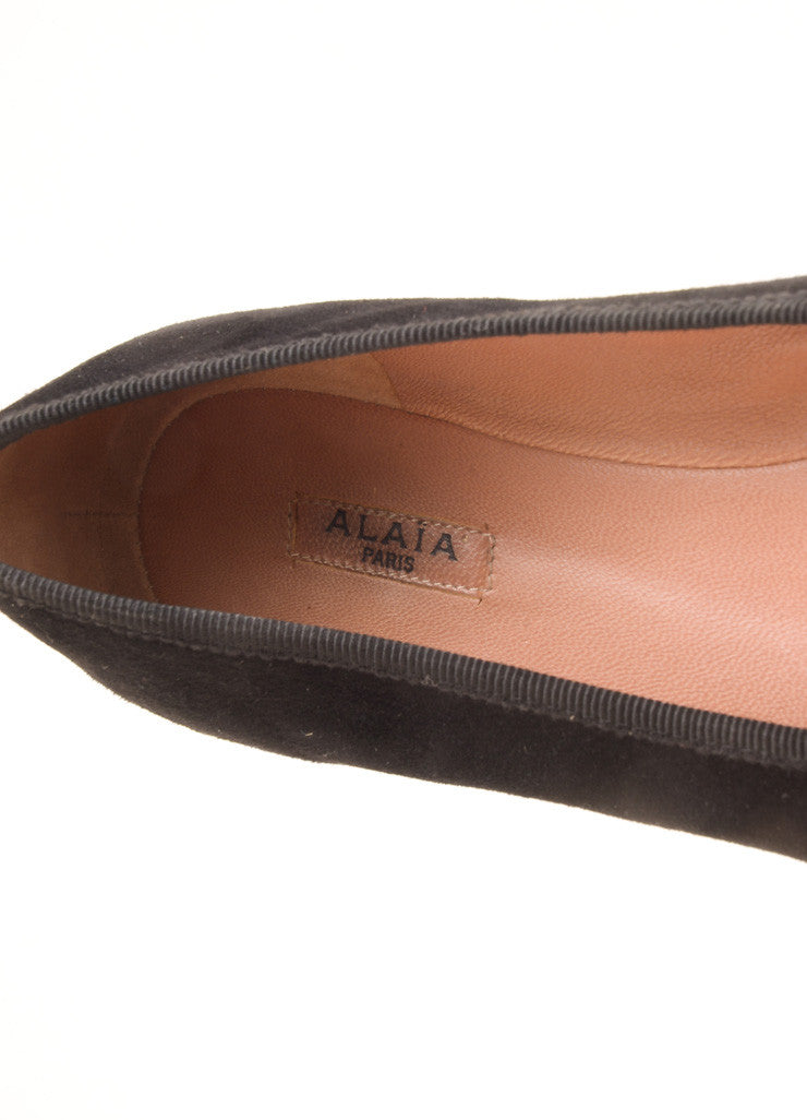 Alaia Black Grommet Bow Rounded Toe Suede Leather Flats Brand