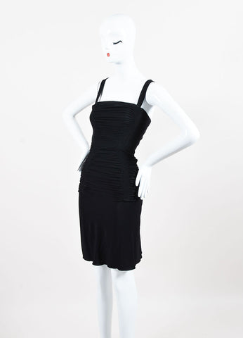 Alaia Black Ruched Back Cut Out Sleeveless Crisscross Strap Cocktail Dress Sideview