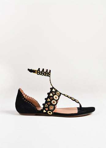 Alaia Black Suede Gold Tone Metal Embellished Flat Thong Sandals side