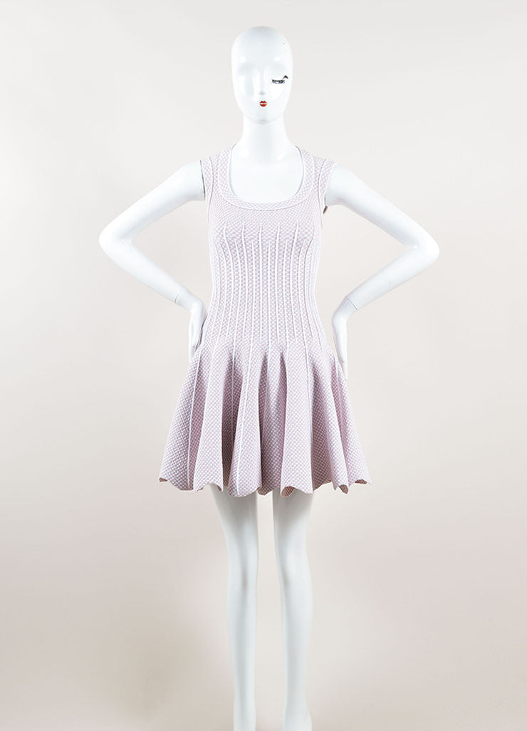 Alaia Light Pink and White Stretch Knit Scoop Neck Spotted Flare Dress Frontview