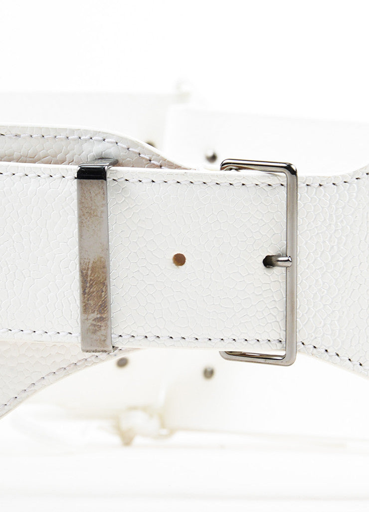 Alaia White Leather Triple Strap Corset Tie Buckle Waist Belt Detail