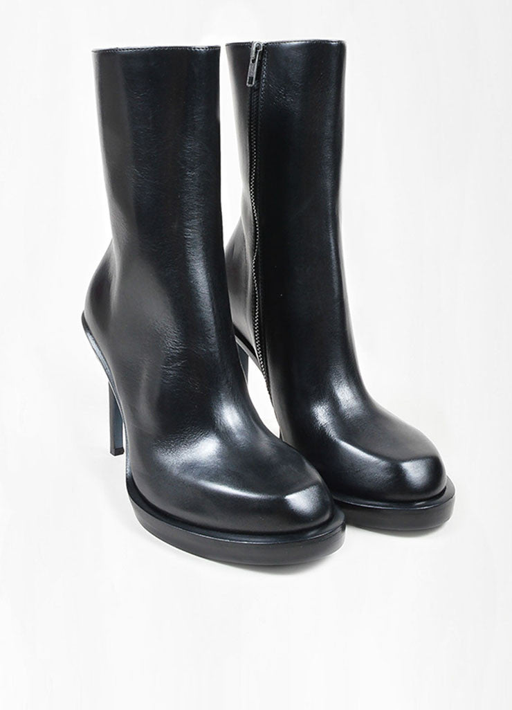 "Black Leather Ann Demeulemeester ""Riffs"" Square Toe Boots"