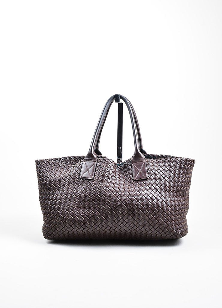 "Brown Bottega Veneta Woven Leather ""Medium Cabat"" Tote Front"