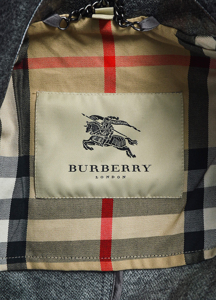 Grey Burberry Coated Wool Double Breasted Belted Trench Coat Brand