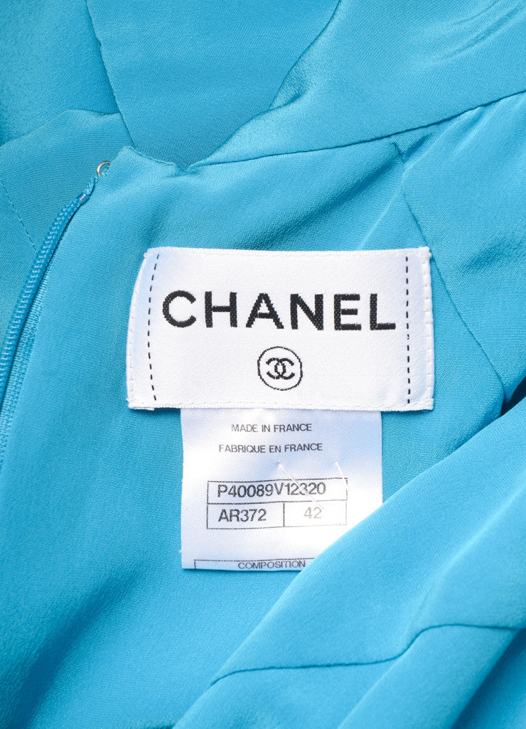 "Chanel  Blue Silk and Silver Toned ""CC"" Button Short Sleeve Gown Brand"