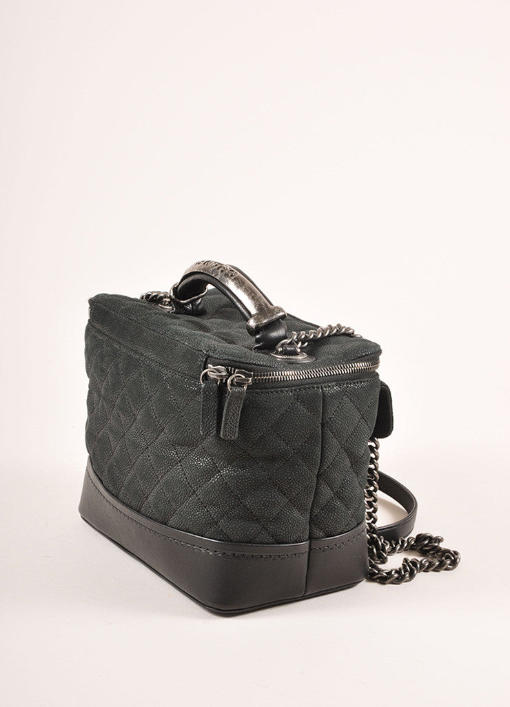 Chanel Black Grained Calfskin Leather Globe Trotter Vanity Case Bag Sideview