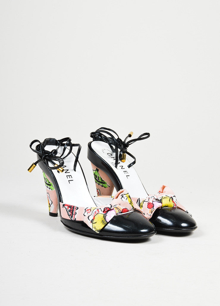 Black Chanel Patent Leather Pink Ice Cream Print Ankle Strap Heels Frontview
